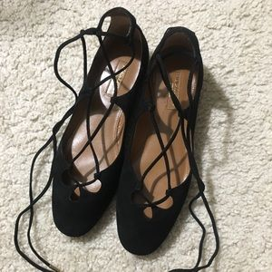 aquazzura black flats in 36.5